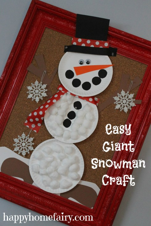 easy giant snowman craft at happyhomefairy.com