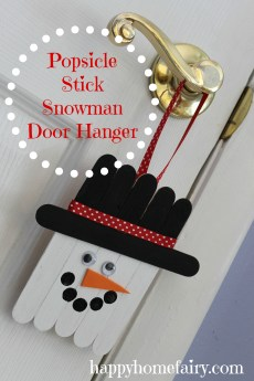 Popsicle Stick Snowman Door Hanger