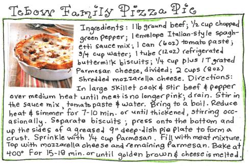 pizza pie recipe card
