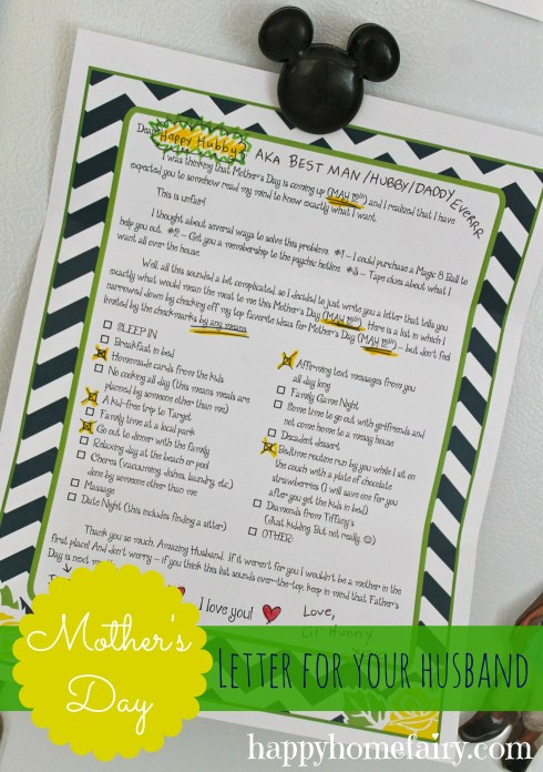 Give your husband this letter from happyhomefairy.com and you are SURE to have the BEST Mother's Day EVER. This is SO funny and SO helpful!!!!!!