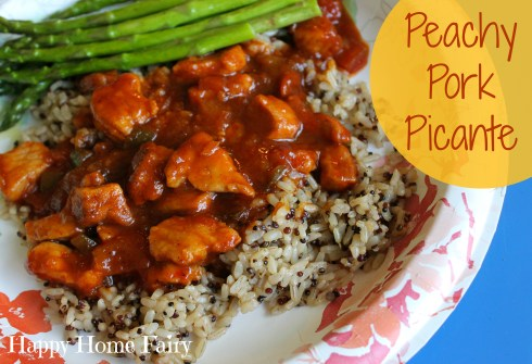 peachy pork picante - a super easy and delicious speedy weeknight dinner the whole family will LOVE!