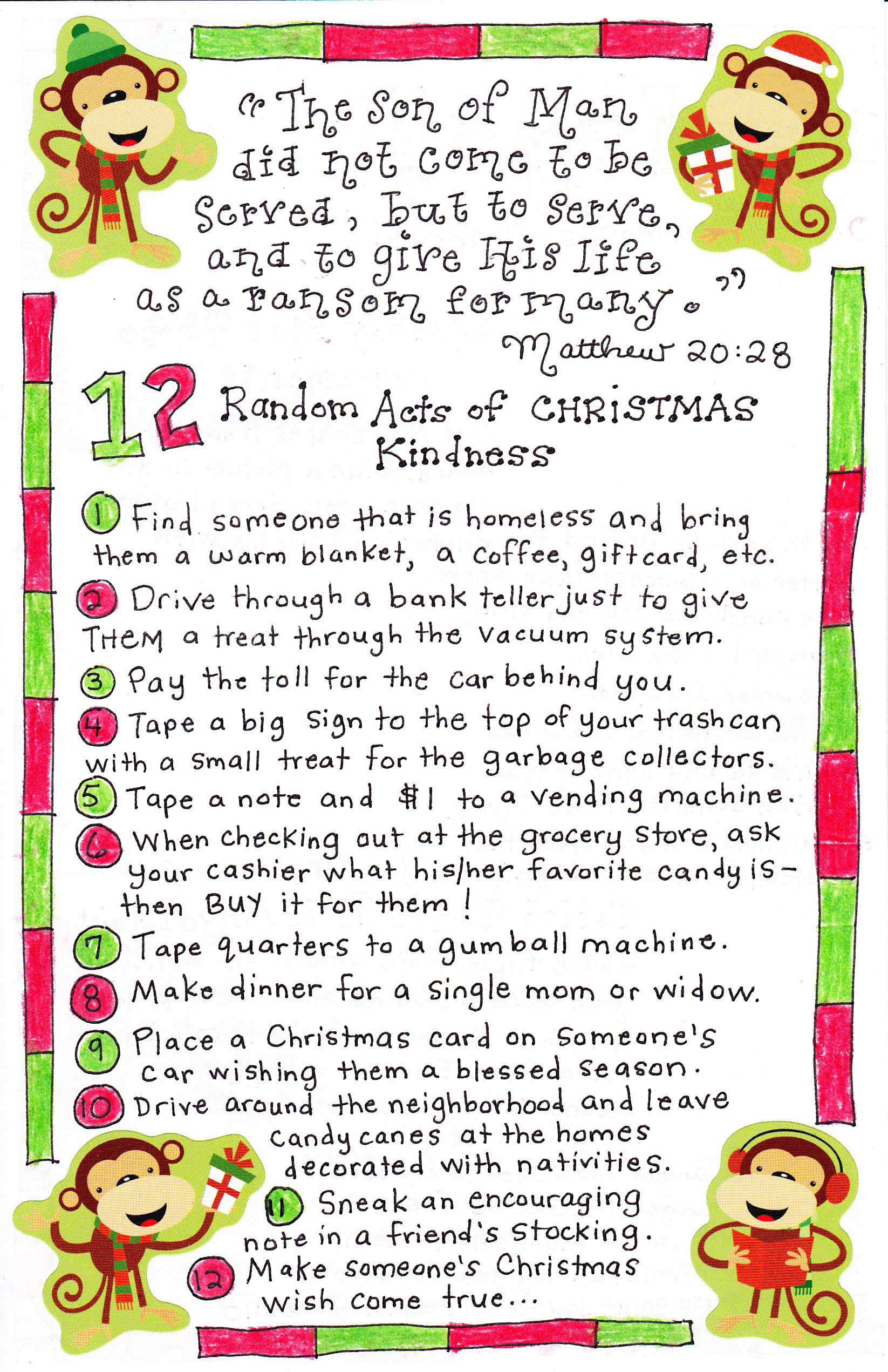 12 christmas acts of kindness - How Many Days Of Christmas