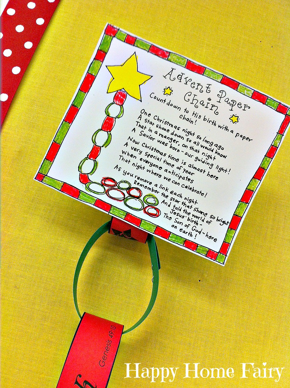 Advent Paper Chain Countdown FREE Printable Happy Home