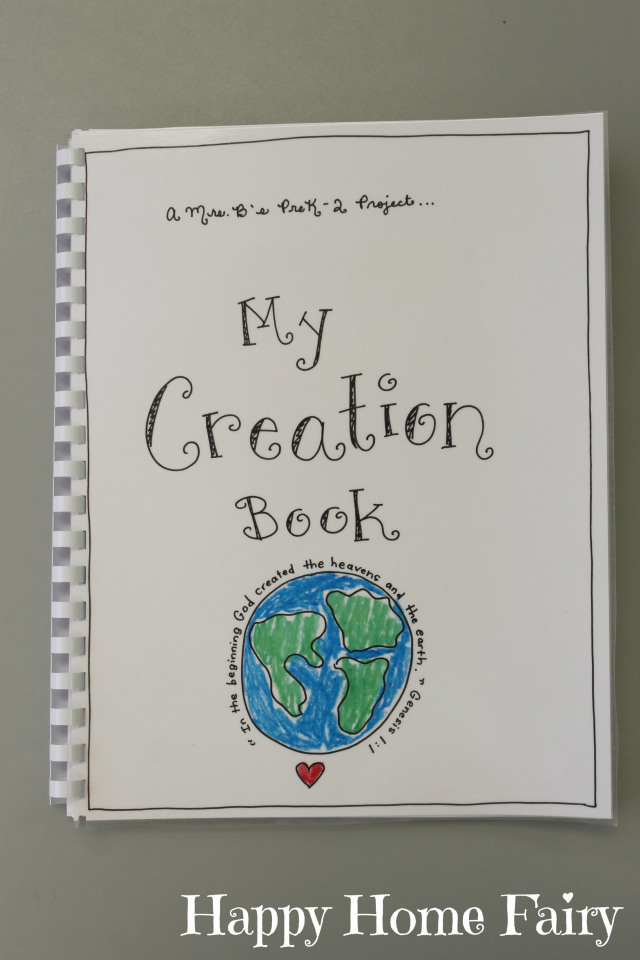 Sunday School Book Cover Page ~ Creation book free printable happy home fairy