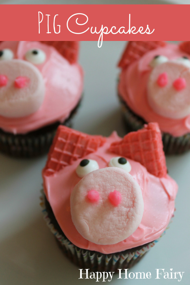 pig cupcakes at happyhomefairy.com