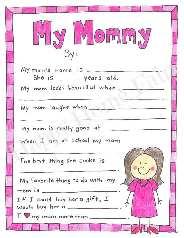 image relating to Free Printable Mothers Day Crafts identified as A Moms Working day Undertaking - Totally free Printable! - Joyful Property Fairy