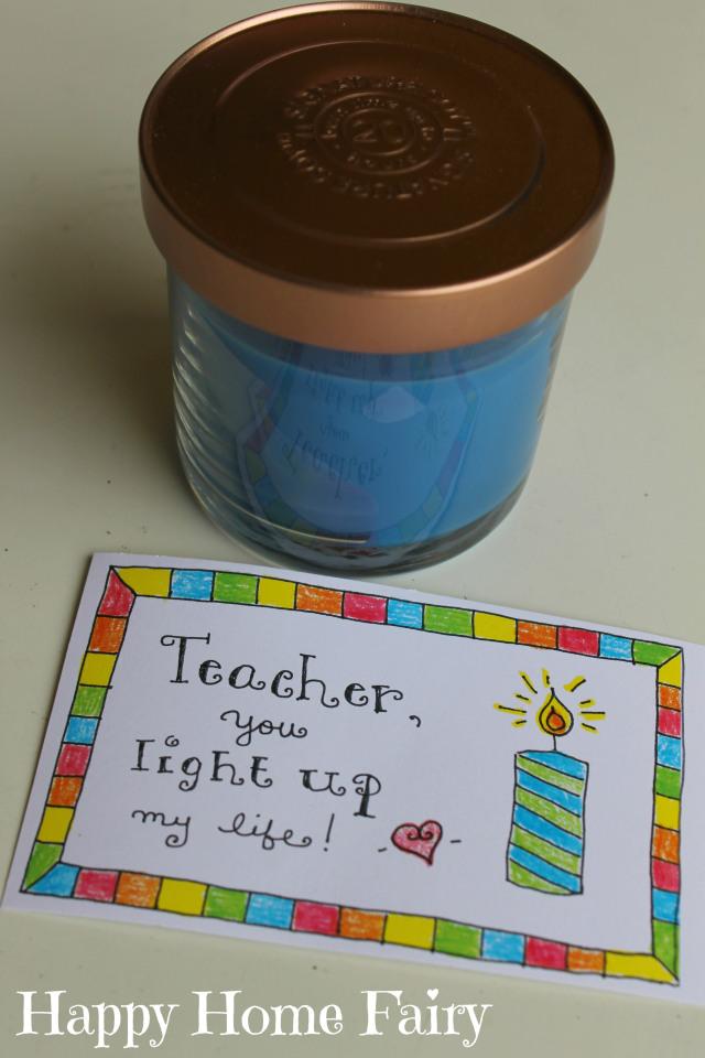 teacher appreciation free printable - candle
