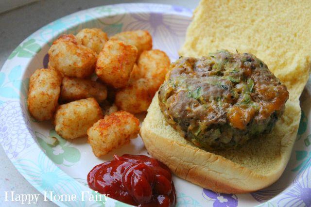 Yummy turkey cheeseburgers with shredded zucchini