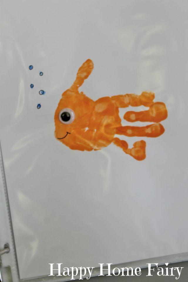 Brown Bear Goldfish Handprint