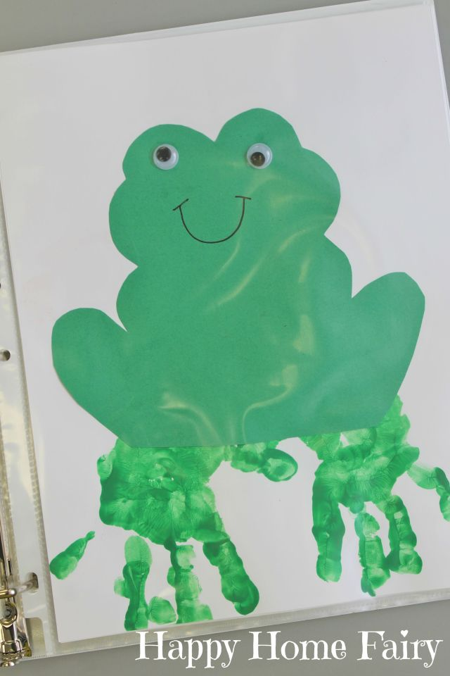 Brown Bear Green Frog Handprint