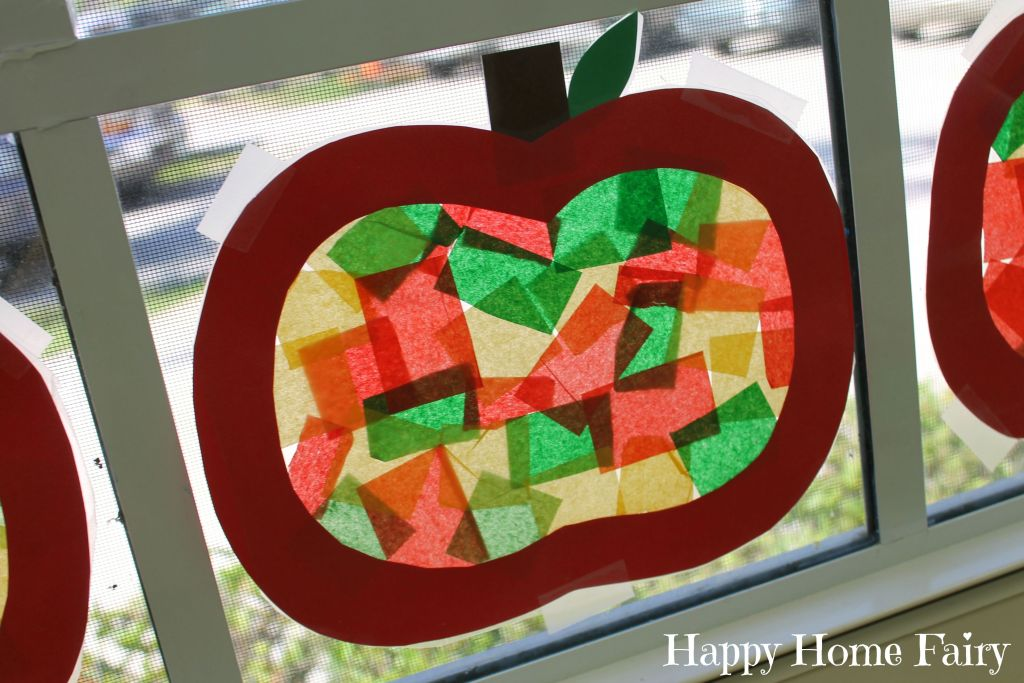 apple stained glass window craft 7