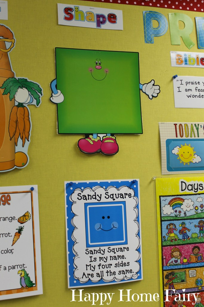 teaching about squares - bulletin board