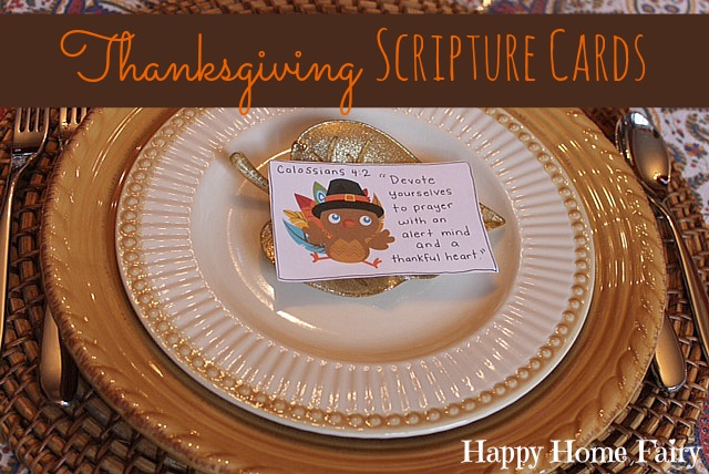 Thanksgiving Scripture Cards - FREE Printable (8 cards - perfect to put at each plate on Thanksgiving or attach to treats and pass out to loved ones or stick in a lunchpail! So many ways to use these!!