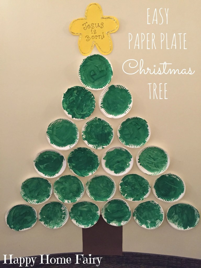 SUPER EASY AND CUTE PAPER PLATE CHRISTMAS TREE FOR THE HALLWAY!
