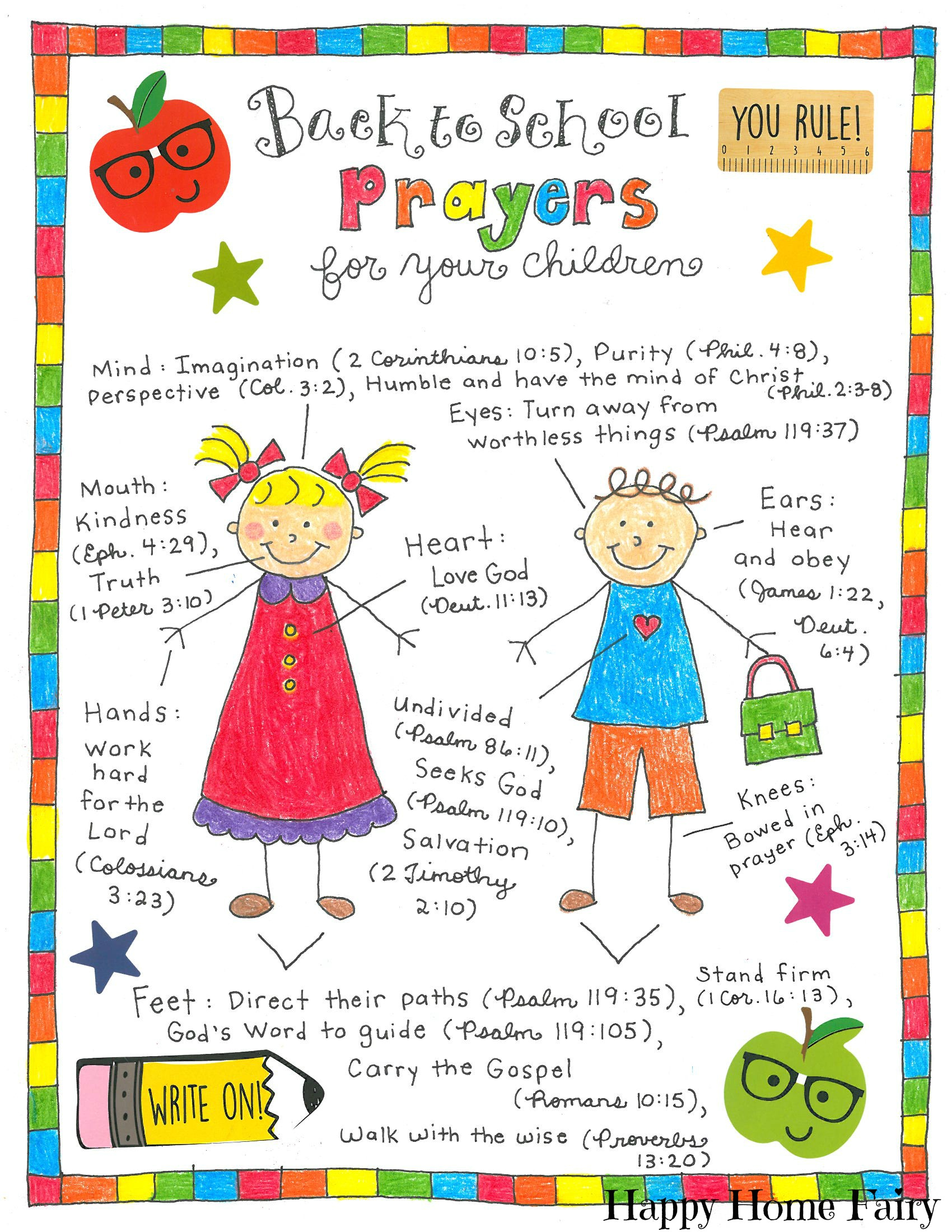 Back To School Prayers For Your Kids Free Printable Happy Home Fairy