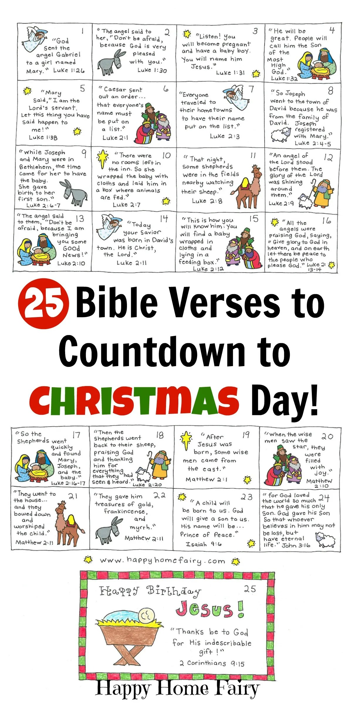 Bible Verse Advent Countdown for Kids FREE Printable Happy Home