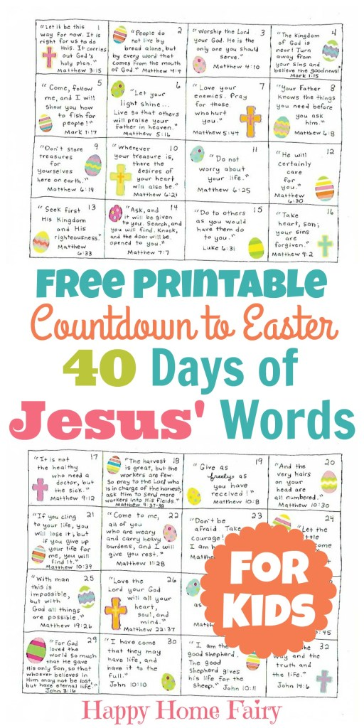 Countdown to Easter - 40 Days of Jesus' Words for Kids (FREE
