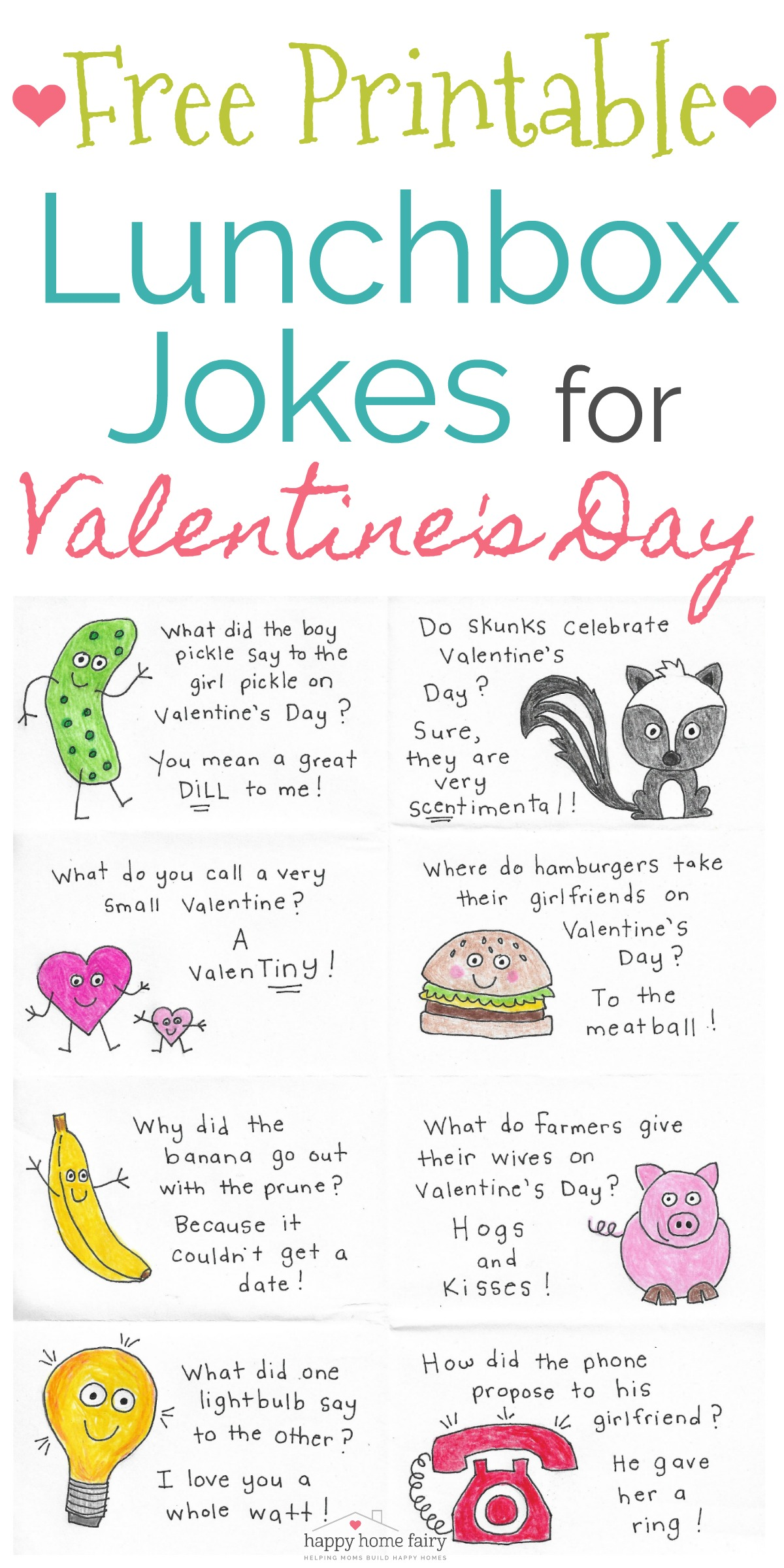 Lunchbox Jokes for Valentine\'s Day - FREE Printable! - Happy Home Fairy