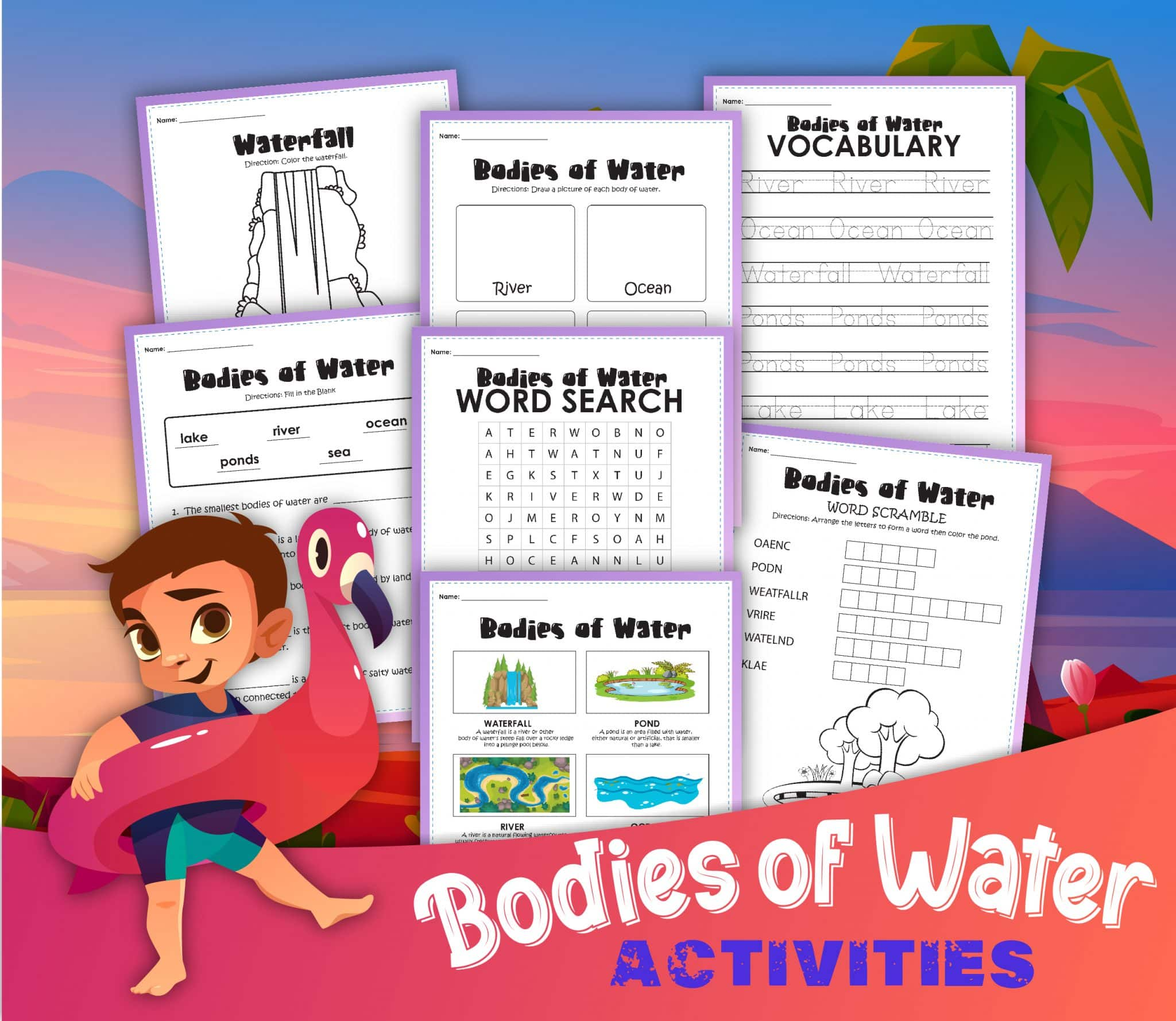 Body Of Water Worksheets For 1st Grade