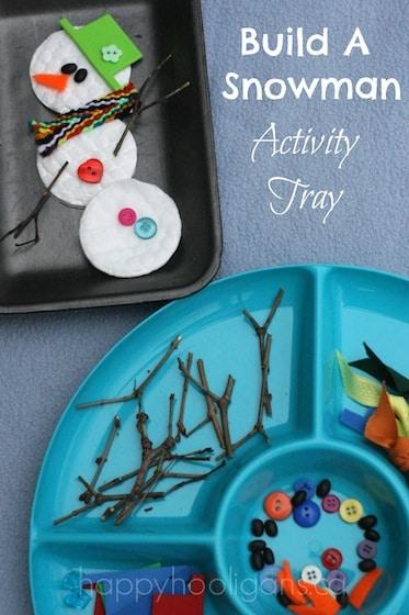 Snowman activity tray