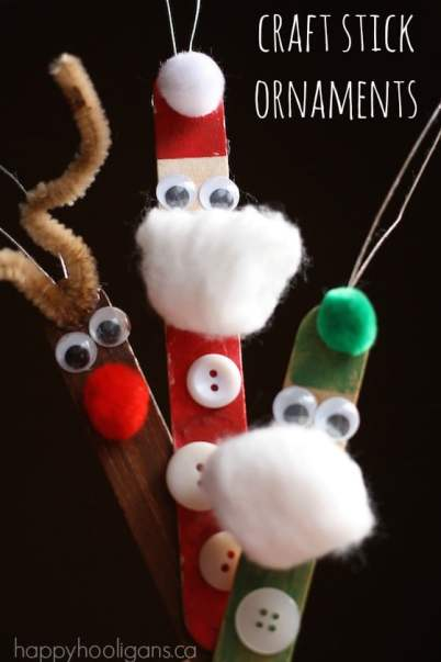 Santa Crafts Kids Can Make - craft stick santa elf and reindeer