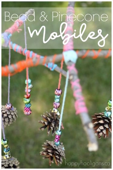 Beautiful Pinecone And Bead Mobile Craft For Kids