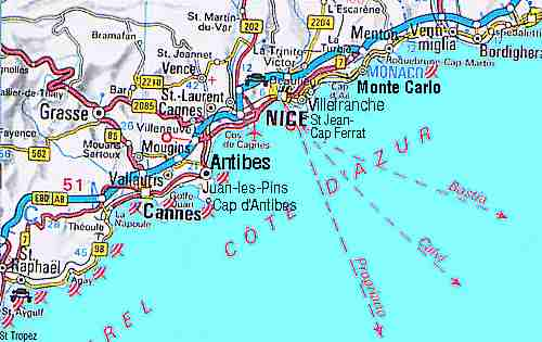 Map of the French Riviera
