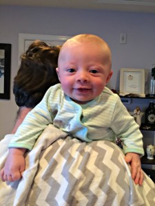 Our little guy happy after a big old burp!