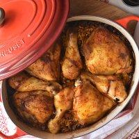 העוף החגיגי של אמא - עוף בתנור עם אורז ערמונים, צנוברים וכל טוב
