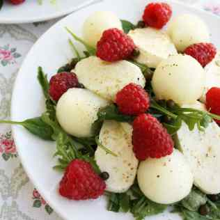 Mozzarella Melon Salad with Raspberries