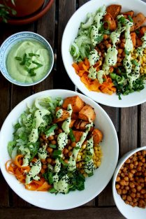 Healthy Veggie Bowls: Roasted and Stir Fried Veggies with Avocado Dressing