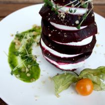 Beetroot Towers with Goat Cheese