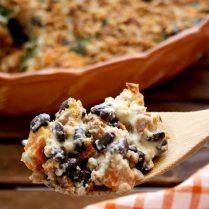 Sweet Potato Casserole with Black Beans, Kale and Buckwheat