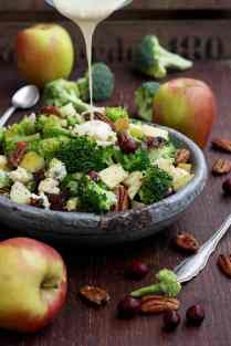Healthy Broccoli Salad with Vegan Bacon, Apples, Blue Cheese and Pecans