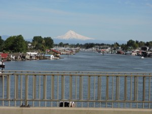 Mt Hood as we cross the Columbia River in Portland, OR