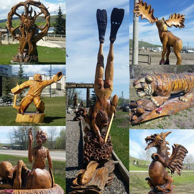 Chainsaw carvings in Chetwynd, BC