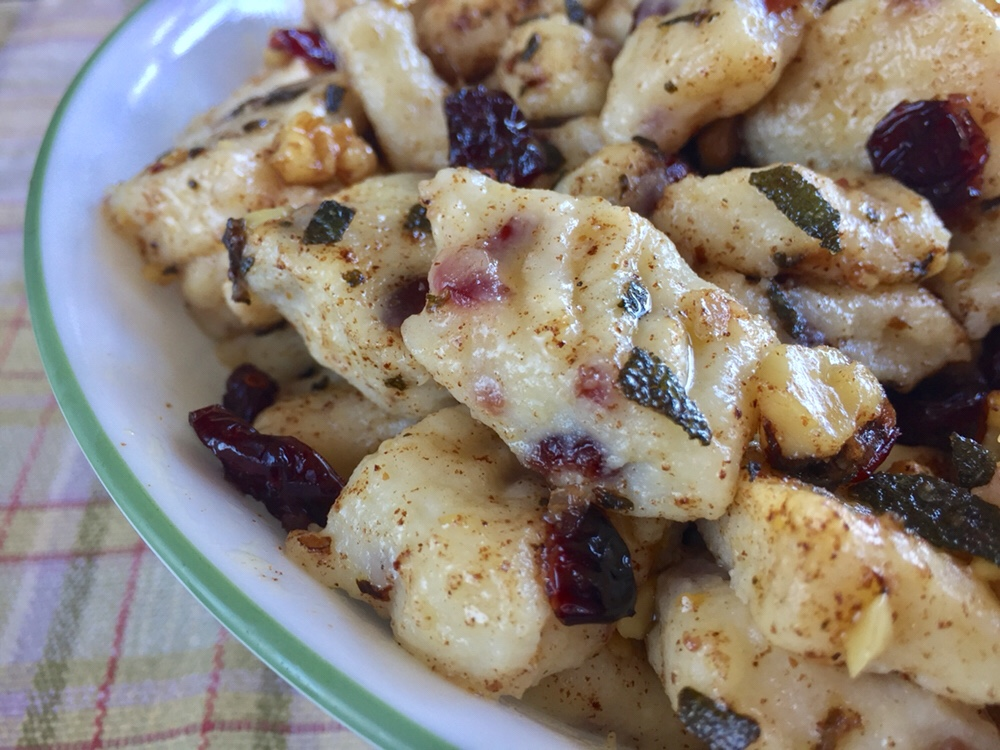 Cranberry Gnocchi in Brown Butter Sauce