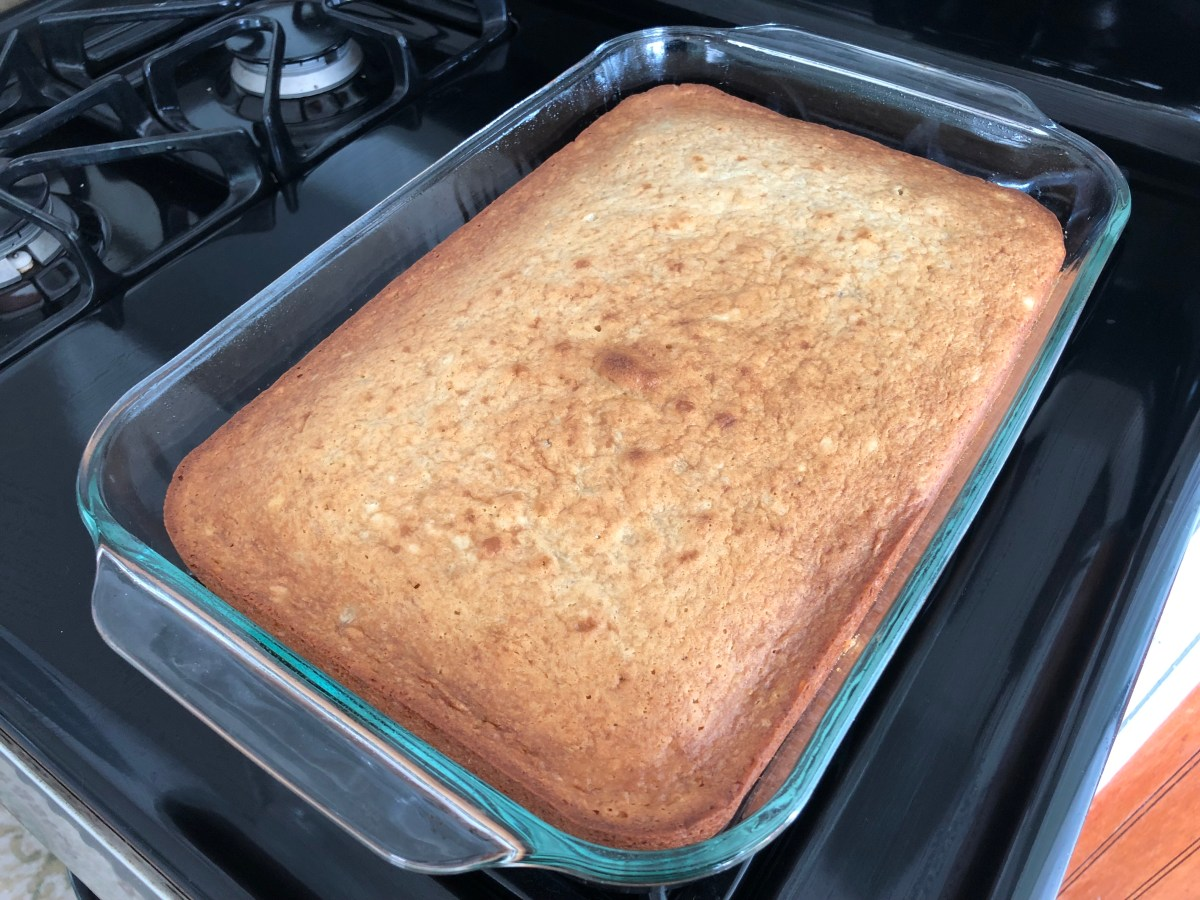 Pour the batter into 13X9 baking pan. Bake in a 350 degree preheated oven for 30-35 minutes.