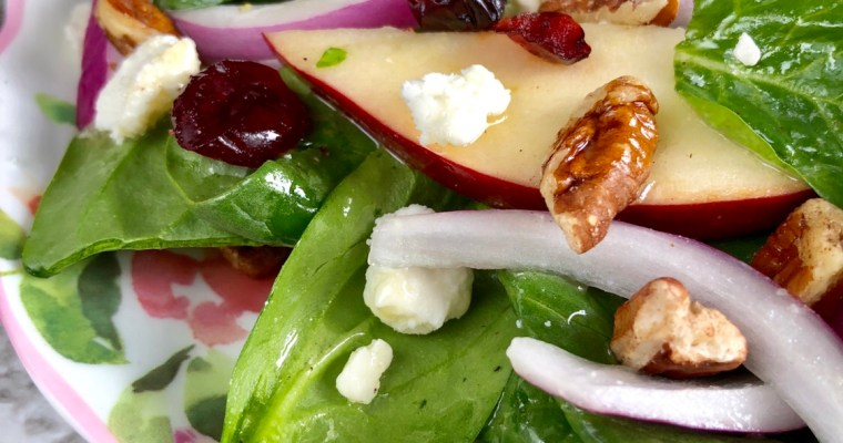 Apple Cranberry Pecan Salad with Maple-Vinaigrette