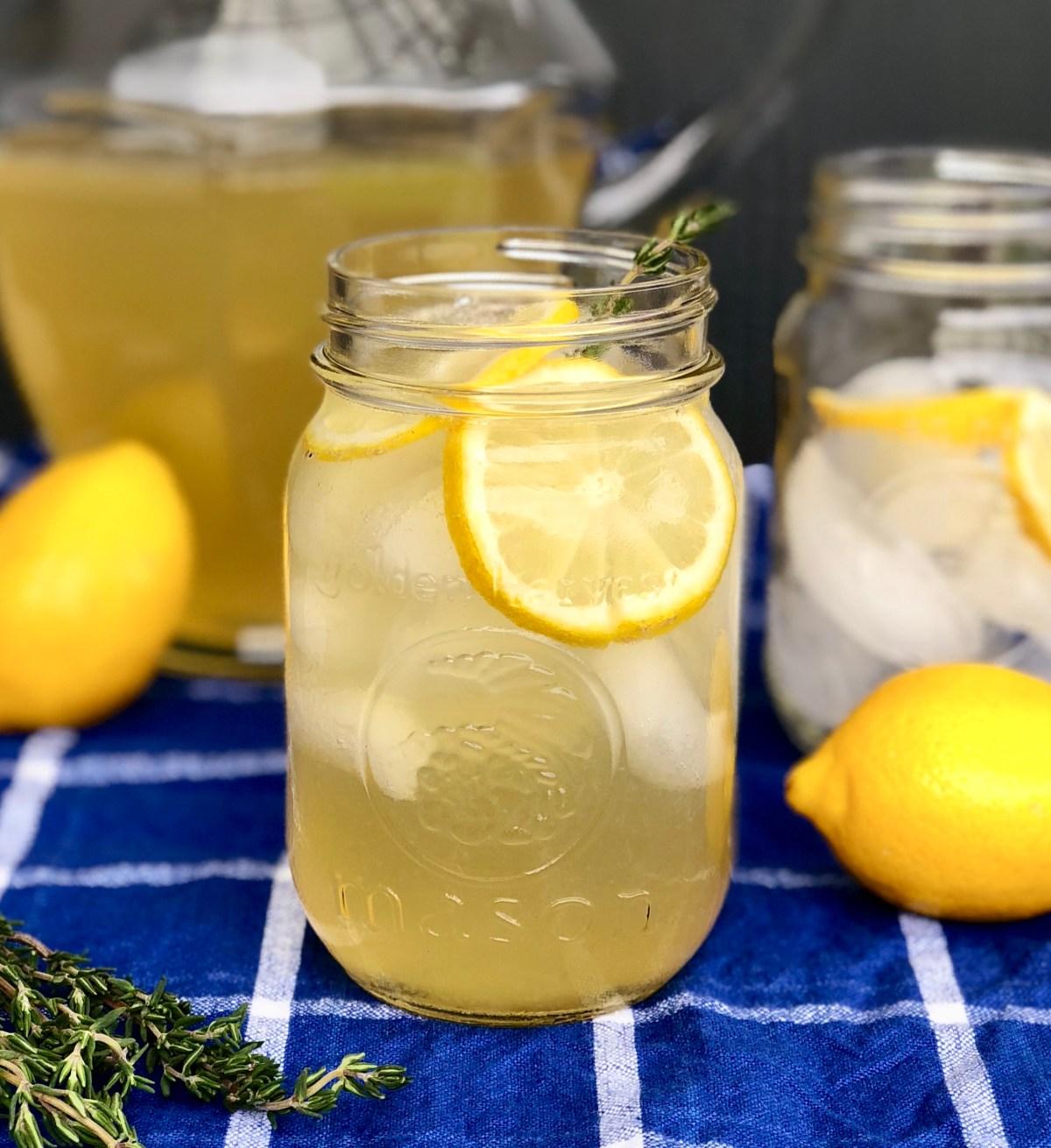 Grilled Lemon and Thyme Lemonade by Happylifeblogspot #lemonade #grilledlemonade #thymelemonade #adultbeverage #homemadelemonade