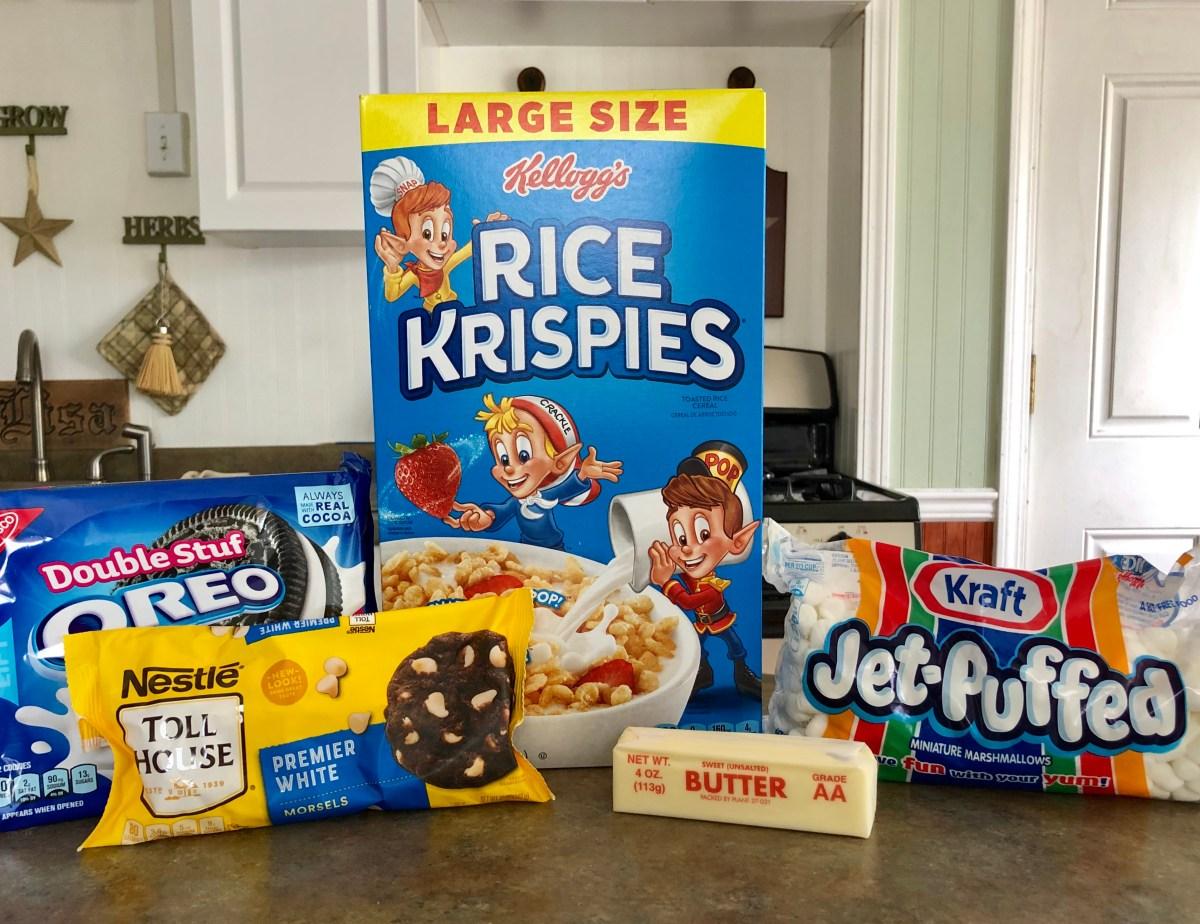 Cookies and Cream Rice Krispies Treats ingredients list