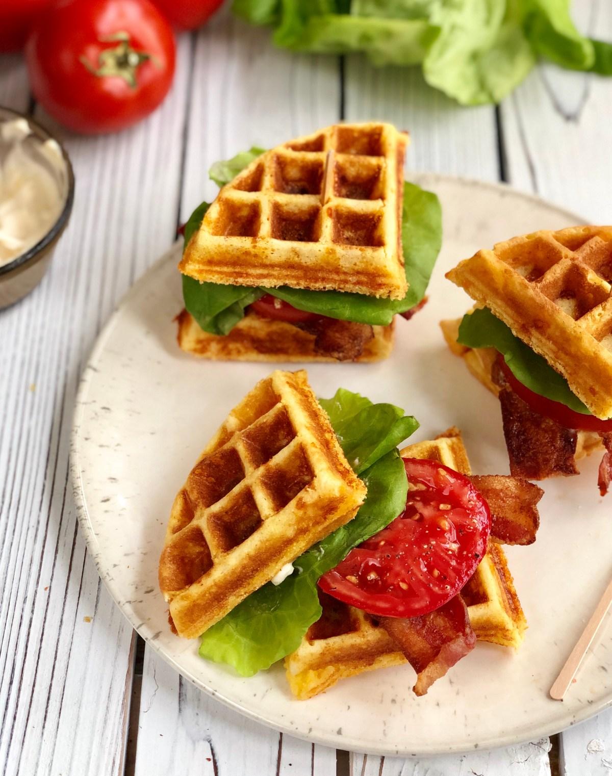 Cornbread Waffle BLT Sandwiches by Happylifeblogspot.com #blt #bltsandwich #waffleblt #cornbreadwaffle #wafflesanwich #tomatosandwich