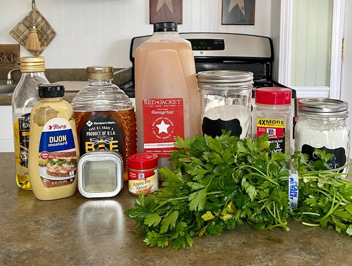 Apple Cider Pork Chops ingredients list #appleciderporkchops #porkchops #skilletrecipes #quickdinnerrecipes #easydinnerrecipes