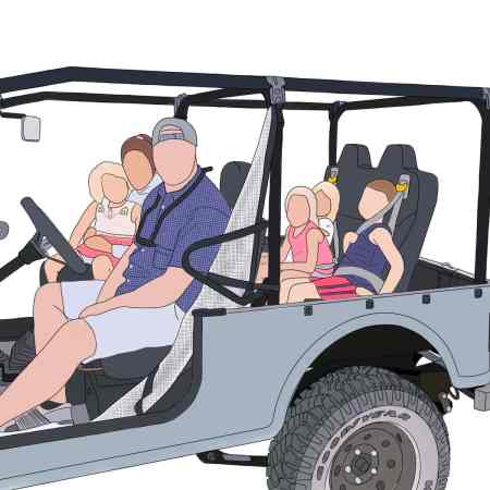 Faceless drawing of a man, woman, 3 girls, and 1 boy in an ATV