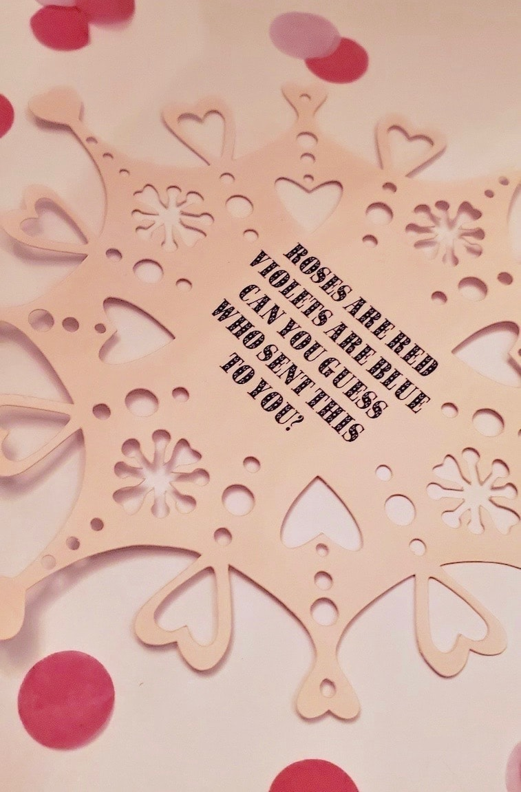Picture of light pink snowflake with black text: ROSES ARE RED, VIOLETS ARE BLUE, CAN YOU GUESS WHO SENT THIS TO YOU?