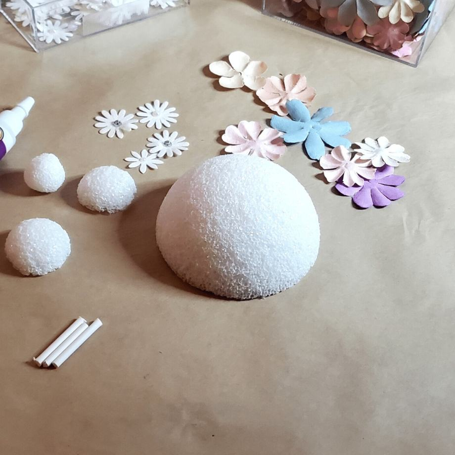 Picture of craft foam balls and flowers