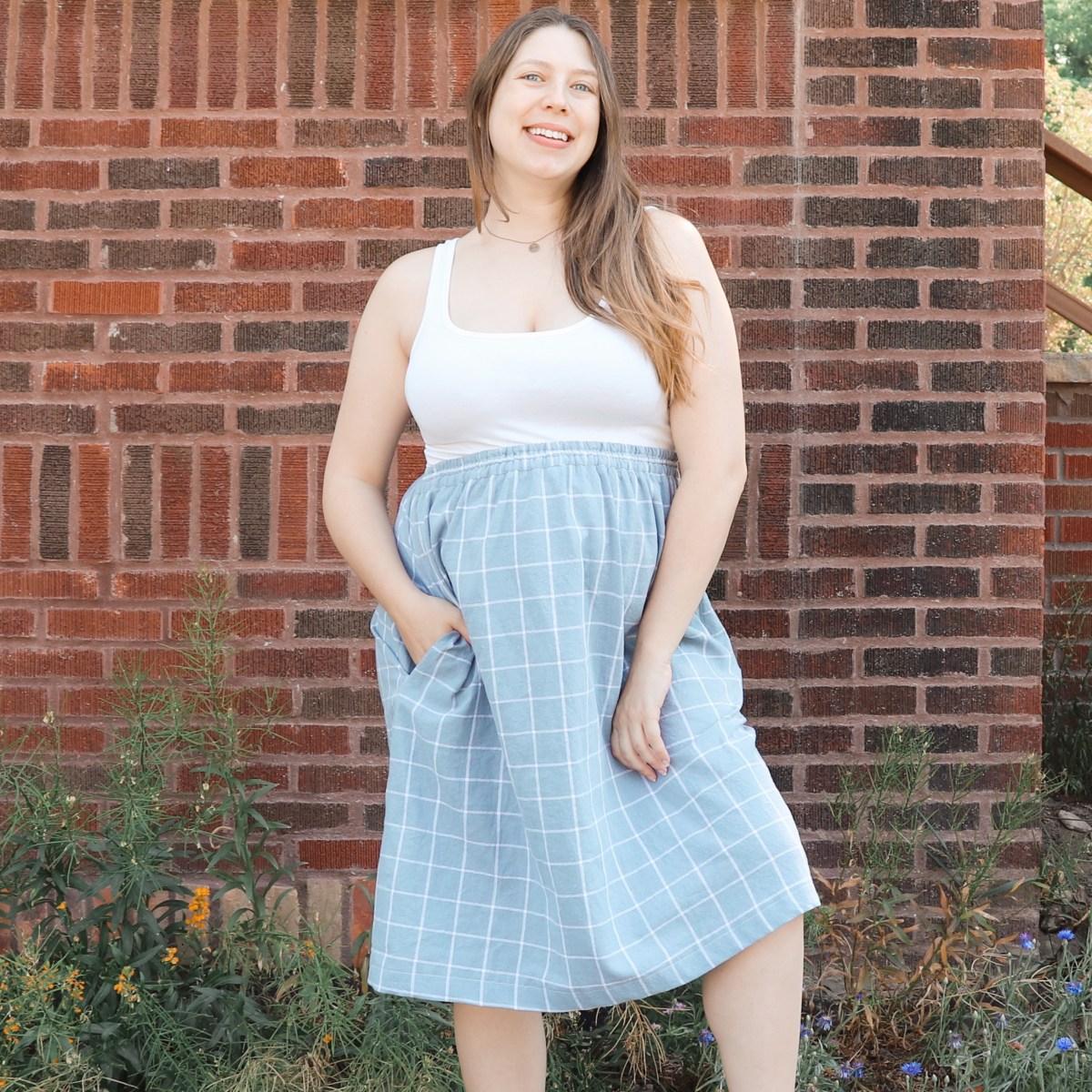 elastic waist gathered skirt tutorial