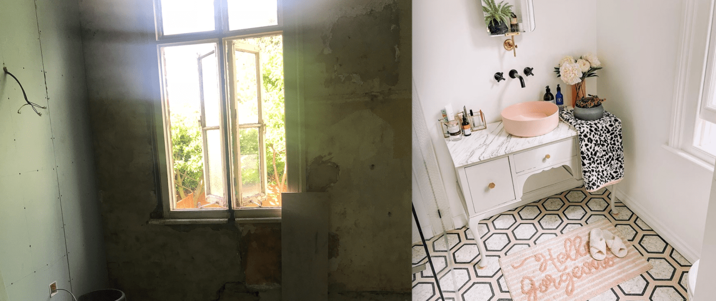 Creating a new bathroom before and after
