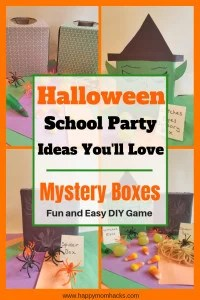 Easiest Halloween School Party Ideas! Great for any Elementary school classroom. Create fun halloween Mystery box game with spiders, grapes, spaghetti and more. #halloweenparty, #schoolpartyidea, #mysteryboxes