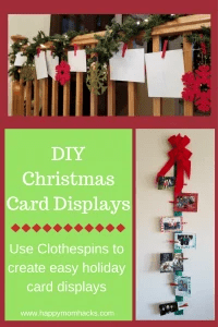 Easiset DIY Christmas Card Displays holder with Clothespins. Use your Christmas cards to decorate your walls, doors or banister with ribbon. So easy and beautiful!! #christmasdecorations, #carddisplay